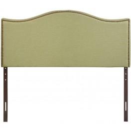 Curl Green Queen Nailhead Upholstered Headboard