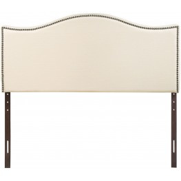 Curl Ivory Queen Nailhead Upholstered Headboard