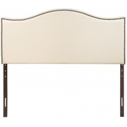 Curl Ivory King Nailhead Upholstered Headboard
