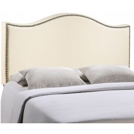 Curl Ivory Full Nailhead Upholstered Headboard