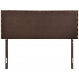 Region Dark Brown Queen Nailhead Upholstered Headboard