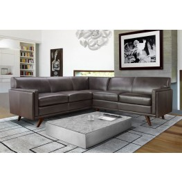 Milo Charcoal Leather Sectional
