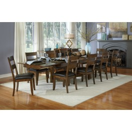 """Mariposa 132"""" Rustic Whiskey Extendable Trestle Dining Room Set"""