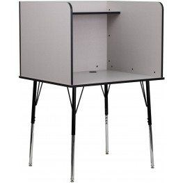 Study Carrel with Adjustable Legs and Nebula Grey Top Shelf