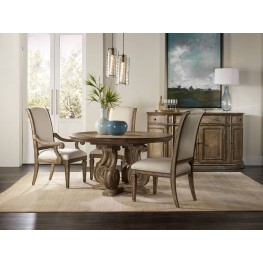 "Solana Brown 54"" Pedestal Extendable Dining Room Set"