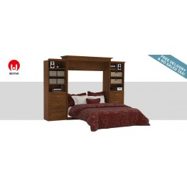 Versatile Tuscany Brown 115'' Drawer Storage Queen Wall Bed