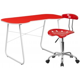 Red Computer Desk And Tractor Chair (Min Order Qty Required)