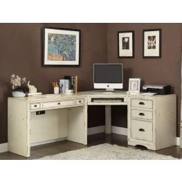 Nantucket Vintage Burnished Artisanal White 3Pc Corner Desk