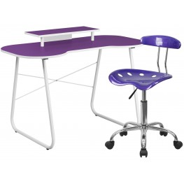 Purple Computer Desk With Monitor Stand And Tractor Chair (Min Order Qty Required)