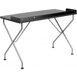 Black Laminate Computer Desk with Silver Frame