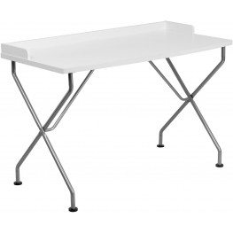 White Computer Desk With Silver Frame (Min Order Qty Required)