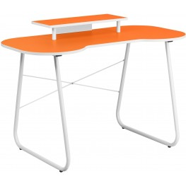Orange Metal Computer Desk With Monitor Stand And White Frame (Min Order Qty Required)