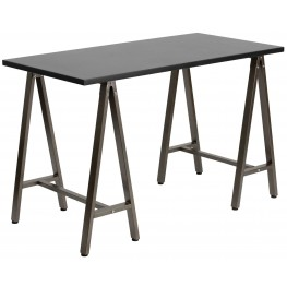 Black With brown Frame Computer Desk