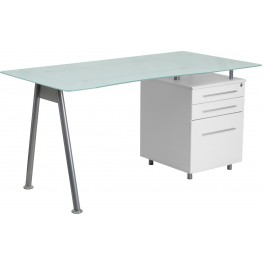 Computer Desk With Glass Top And 3 Drawer Pedestal (Min Order Qty Required)