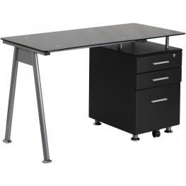 Black Computer Desk With Three Drawer Pedestal (Min Order Qty Required)