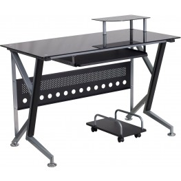 Black Computer Desk with Pull-Out Keyboard Tray and CPU Cart