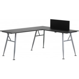 Black Laminate L-Shape Computer Desk