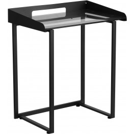 Desk With Clear Tempered Glass And Black Frame (Min Order Qty Required)