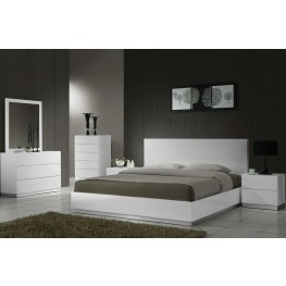 Naples White Lacquer Platform Bedroom Set