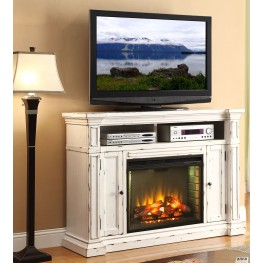 New Castle Rustic White Fireplace Media Center