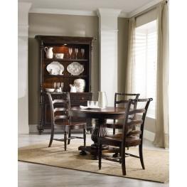 "Eastridge Dark Wood 54"" Round Extendable Pedestal Dining Room Set"
