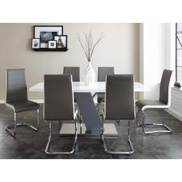 Nevada Shiny Chrome Rectangular Pedestal Dining Room Set