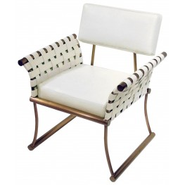 Nyla White Leather Accent Chair