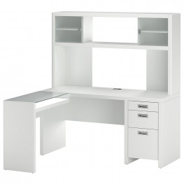 New York Skyline Plumeria White Small Office L Desk & Hutch