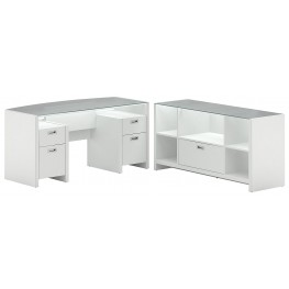 New York Skyline Plumeria White Bow Front Desk & Storage Crendenza