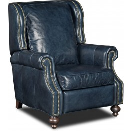 Drake Blue Leather Recliner