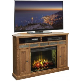 "Oak Creek Golden Oak 56"" Corner Fireplace"
