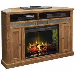 "Oak Creek 56"" Brown Corner Fireplace Console"