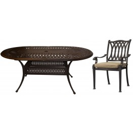 "Primera Black 72"" Oval Outdoor Dining Set"