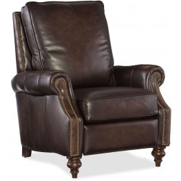 Conlon Dark Walnut Leather Recliner