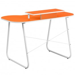 Orange Computer Desk with Monitor Stand and White Frame