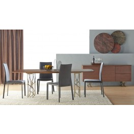Cleo Dark Walnut Oro Dining Room Set with Ritz Luca Dining Chairs