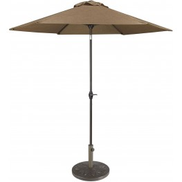 Umbrella Accessories Tan and Dark Brown Medium Auto Tilt Umbrella with Taupe Umbrella Base