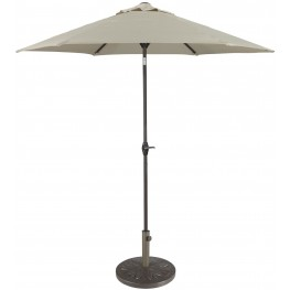 Umbrella Accessories Beige and Dark Brown Medium Auto Tilt Umbrella with Taupe Umbrella Base