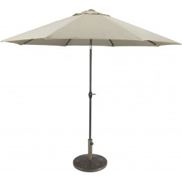 Umbrella Accessories Beige and Dark Brown Large Auto Tilt Umbrella with Taupe Umbrella Base