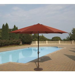 Umbrella Accessories Burnt Orange Large Auto Tilt Umbrella with Dark Brown Umbrella Base