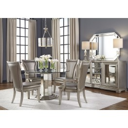 Couture Silver Round Pedestal Dining Room Set
