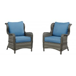 Abbots Court Blue and Gray Outdoor Lounge Chair Set of 2