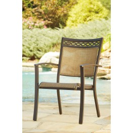 Carmadelia Tan and Brown Outdoor Sling Chair Set of 4