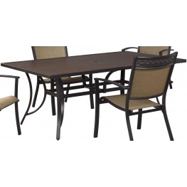Carmadelia Tan and Brown Outdoor Rectangular Dining Table