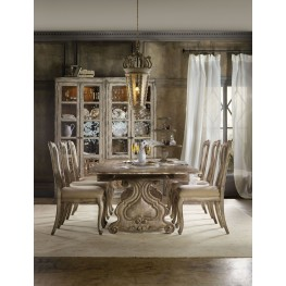 Chatelet Cream Refectory Rectangular Trestle Extendable Dining Room Set