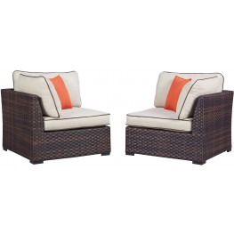 Renway Beige and Brown Outdoor Corner Set of 2