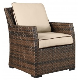 Salceda Beige and Brown Outdoor Lounge Chair