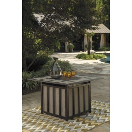 Wandon Beige and Brown Outdoor Square Fire Pit Table