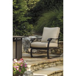 Wandon Beige and Brown Outdoor Spring Lounge Chair Set of 4