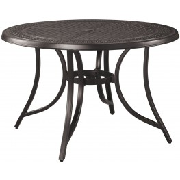 Burnella Beige and Brown Outdoor Round Dining Table